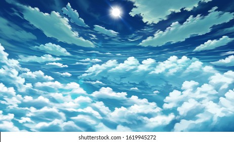 Dramatic Clouds Blue Sky Anime Background Landscape