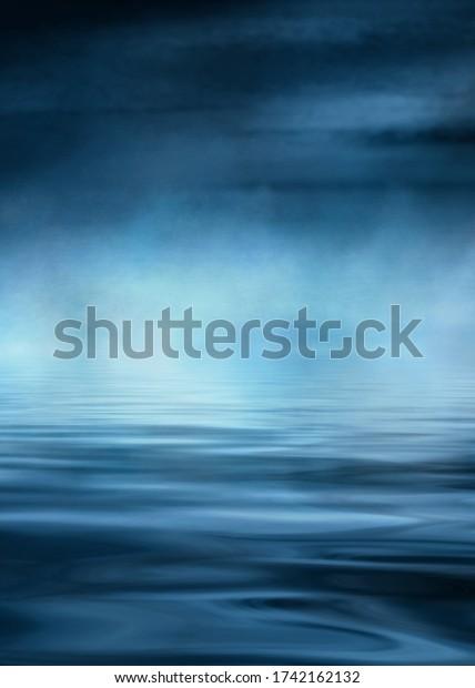 Dramatic dark background. Reflection of light on the water. Smoke fog. 3d illustration