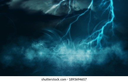 Dramatic empty nature background. Dark night view of the city during a thunderstorm. Flashing lightning. Reflection of light on the asphalt. 3d illustration