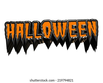 A dramatic Halloween sign in orange and black isolated on white