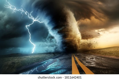 A dramatic and powerful tornado and supercell thunder storm passing through some isolated countryside at sunset. Mixed media landscape weather 3d illustration.