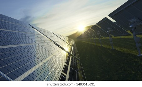Dramatic Sunrise over the Solar Field 3D Rendering