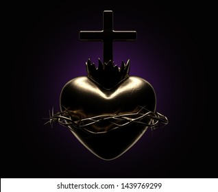 A dramatically backlit gold casting of the sacred heart of jesus on a dark background - 3D render