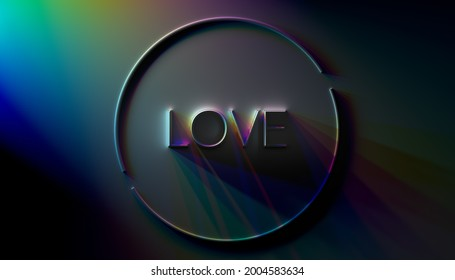 Dramatically lit 3D rendering of LOVE title with refracting light effects and long shadows.