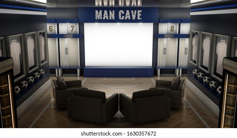 A dramatically lit interior of a soccer themed man cave with sports memorabilia, lockers and large television screen surrounded by sofas - 3D render