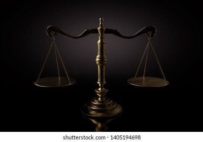 A dramtically lit gold justice scale backlit an a dark background - 3D render