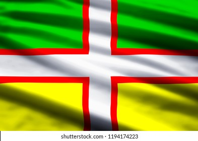Drapeau Du Saguenay-Lac-Saint-Jean stylish waving and closeup flag illustration. Perfect for background or texture purposes.