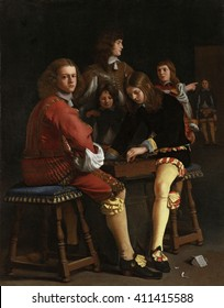 The Draughts Players, by Michael Sweerts, 1652, Flemish painting, oil on canvas. Two seated boys on benches engaged in a game of checkers, while two others look on.