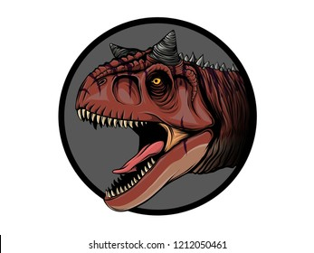 draw cartoon dinosaur carnotaurus illustration for children