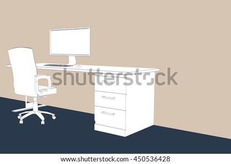 Draw Desk Against Beige Background Stock Illustration 450536428