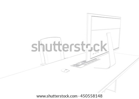 Draw Desk Computer Chair Stock Illustration Royalty Free Stock
