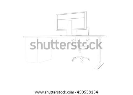 Draw Desk Computer Chair Stock Illustration 450558154 Shutterstock