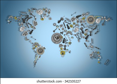 Draw a map of the world made up of spare parts. Spare parts for shop, aftermarket, OEM. Map with spare parts. New spare parts for shop. Many auto spare parts for map. Isolated auto spare parts. Map