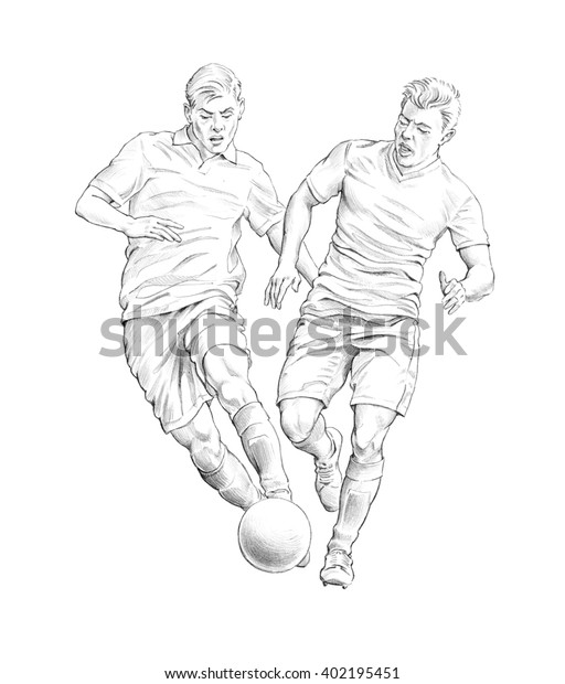 Draw Soccer Player Action Stock Illustration 402195451