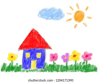 Draw a tree, a house, a flower and a sun