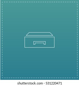 Drawer. White outline simple pictogram on blue background. Line icon