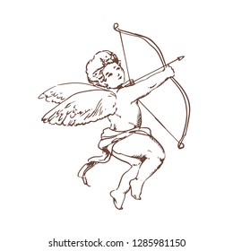 Drawing of adorable Cupid with bow aiming or shooting arrow isolated on white background. God of romantic love, passion and desire, mythological character with wings. Monochrome  illustration.