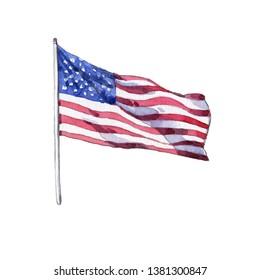 Drawing of American flag in watercolor
