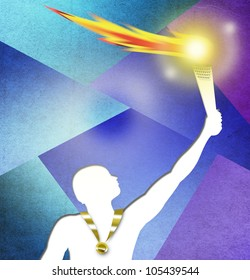 Drawing of Athlete holding a torch with Gold medal. Olympic flame concept with colorful background  illustration.