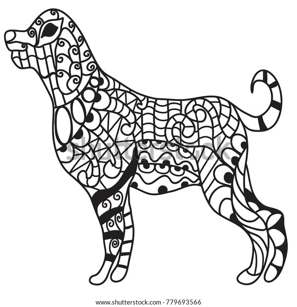 Drawing Big Dog Standing Coloring Page Stock Illustration 779693566