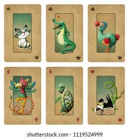 Drawing bizarre fantasy cartoon character set animals Wonderland.
