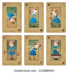 Drawing bizarre fantasy cartoon character set and various elements Wonderland.