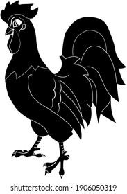 Drawing of the black rooster on the white background.