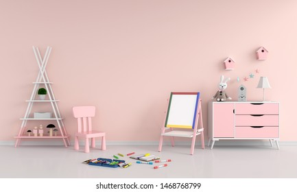 Drawing board and chair in child room for mockup, 3D rendering