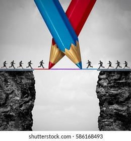 Drawing a bridge together as two teams of people running from one cliff to another with the help of a red and blue pencil line as a bilateral agreement with 3D illustration elements.