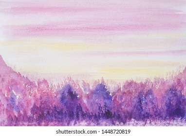 Drawing of bright colorful forest, hills yellow sky. Light pink color clouds silhouettes lines. Picture contains interesting tourism idea evokes emotions pleasure. Natural paints. Art painting texture