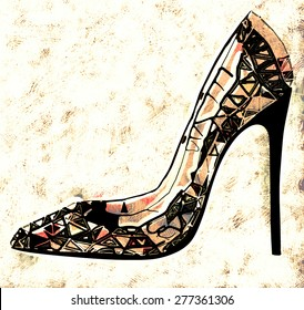 Drawing of brown shoe