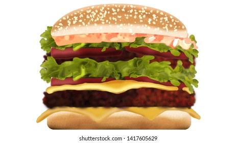 drawing burger for restoran menu and futuristic image  for you web page