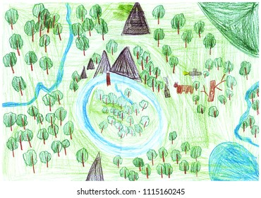 drawing by colored pencils  in kids style of the Eath from bird's eye view