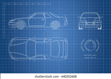 Drawing of the car on a blue background. Top, front and side view. The blueprint of  vehicle.