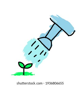 The drawing cartoon picture is watering the seedlings