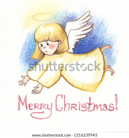 Drawing Color Pencils Christmas Angel Greeting Stock Illustration ...