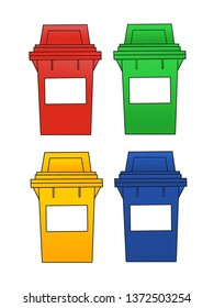 Drawing and coloring of four trashcans.