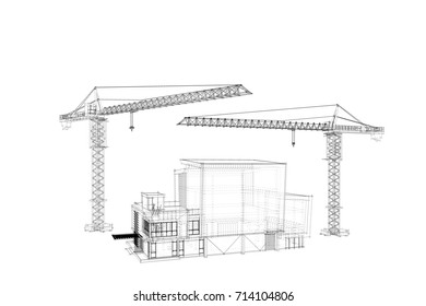 Drawing construction crane and 3D building.