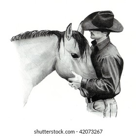 Drawing of Cowboy and Horse