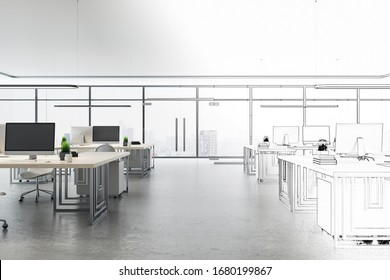 Drawing coworking office interior with computers on table and city view. 3D Rendering