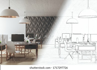 Drawing coworking office interior with equipment and computer on desktop.  Workplace and corporate concept. 3D Rendering