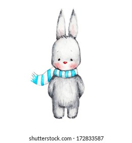 The Drawing of Cute Bunni in Scarf