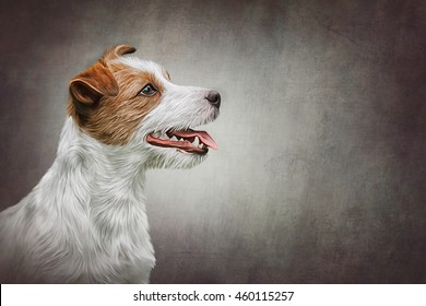 Drawing Dog Jack Russell Terrier portrait oil painting on old vintage color grunge paper background