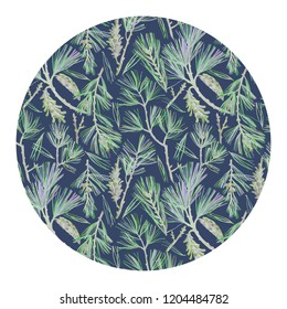 Drawing with Eastern White Pine branches, pine cones in round frame. Botanical graphics in vintage style. For cards, postcards, wedding decoration, gift boxes, wrapping, plates, surface, poster,banner