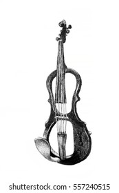 Drawing of electric violin. Illustration.