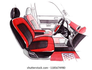 Drawing of the exclusive interior design of the car with the elaboration of all the elements of the modern passenger compartment of the vehicle. Illustration is made by hand using watercolors, paper