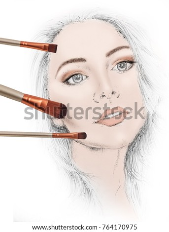drawing face woman template stock illustration 764170975 shutterstock