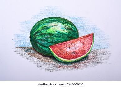 drawing fruit colour pencil watermelon stock illustration 428553904