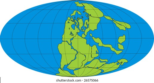 Drawing of the globe with super continent Pangea and sea Tetis in Permian isolated on white