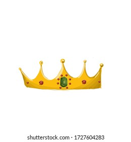 Drawing of a Golden crown with small red rubies on the edges and a large green emerald in the middle